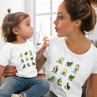 """ФП005359Парные футболки Family Look. Мама и дочь """"Авокадо: зарядка""""  Push IT"""
