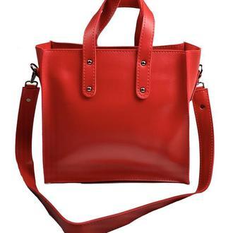 Сумка шоппер большая на молнии стильная из экокожи красная