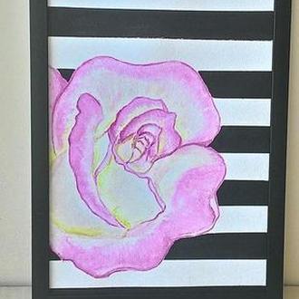 Картина - постер (Роза) акварель. Формат А4
