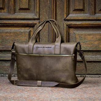 Мужская деловая кожаная сумка оливкового цвета. Офисная мужская сумка