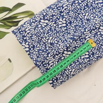 Ткань из хлопка мягкая 45×50 см. Листочки на синем