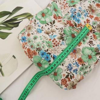 Ткань хлопок 40×50 см. Цветы на белом