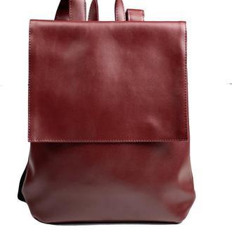 Рюкзак женский с клапаном городской средний непромокаемый из экокожи бордовый