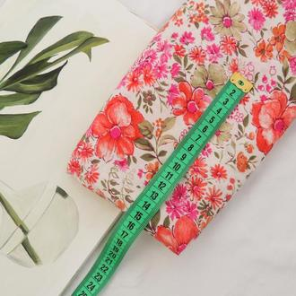 Ткань из хлопка мягкая 38×50 см. Цветы на белом