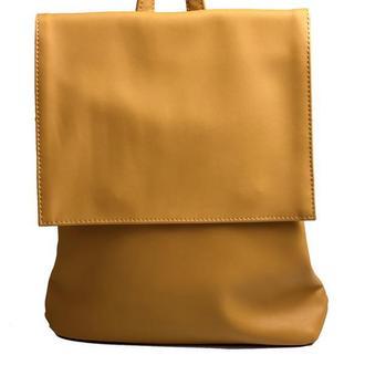 Рюкзак женский с клапаном городской средний непромокаемый из экокожи желтый