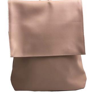Рюкзак женский с клапаном городской средний непромокаемый из экокожи розовый