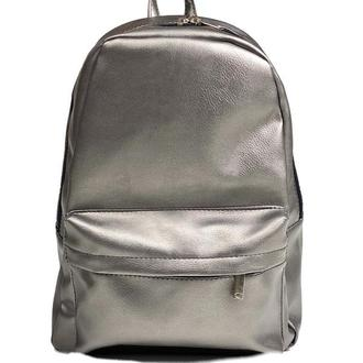 Рюкзак женский городской средний спортивный из экокожи непромокаемый темно-серый
