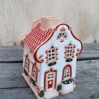 """Рождественский домик. Новогодний подсвечник """"Барокко"""" белый."""