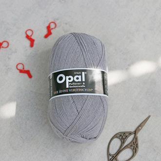 Носочная пряжа Opal 4-х ниточная однотонная, серый