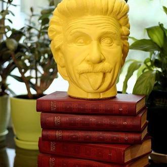 Скульптура органайзер Vase Head в образе Альберта Эйнштейна 21 см желтый