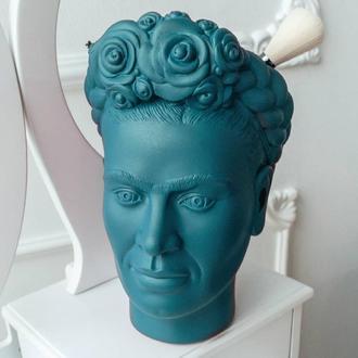Скульптура органайзер Vase Head в образі мексиканської художниці Фріди Кало 25 см бірюзовий