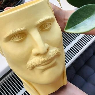 Скульптура органайзер Vase Head в образі Фредді Мерк'юрі 18 см жовтий