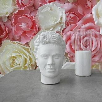 Скульптура органайзер Vase Head в образі мексиканської художниці Фріди Кало 25 см білий