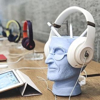 Скульптура органайзер Vase Head в образі Стіва Джобса 18 см блакитний