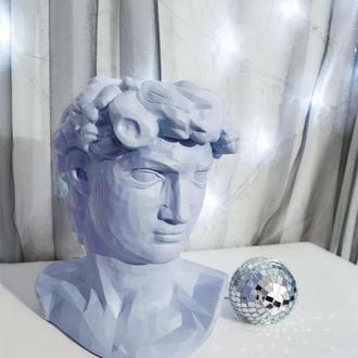 Скульптура органайзер Vase Head в образі Давида 24,5 см блакитний