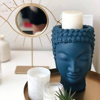 Скульптура органайзер Vase Head в образе Будды 21 см темно-синий