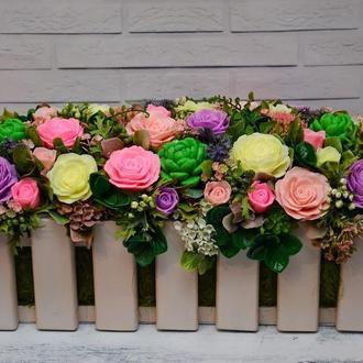 Интерьерная композиция. Цветы из декоративного мыла