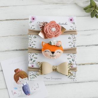 Набор повязок для девочки / Повязки на голову для малышки / Подарок девочке