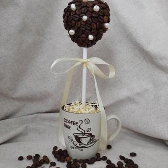 """Кофейный топиарий """"Жемчужное сердце""""  с натуральным речным жемчугом."""