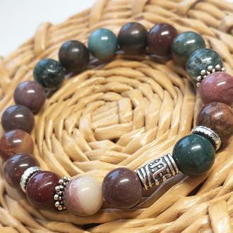 Браслет з натуральних каменів, браслет з яшми, браслет на подарунок, осінній браслет