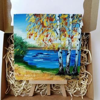 """Мініатюра маслом """"Золоті берези"""", Красиві берези, Озеро і берези, Картина берези"""