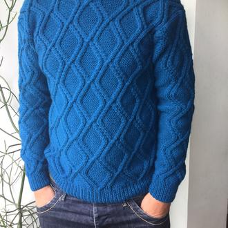 Мужской свитер «ромбы», ручная работа
