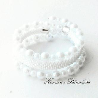 Белый браслет из бисера Тройной безразмерный браслет, лучший подарок