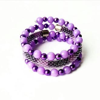 Фиолетовый браслет из бисера Тройной безразмерный браслет, лучший подарок