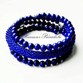 Синий браслет из бисера Тройной безразмерный браслет, лучший подарок
