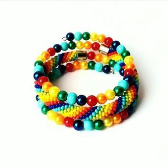 Радужный браслет из бисера Тройной безразмерный браслет, лучший подарок