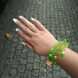 Воздушный браслет салатового цвета Вечернее украшение Подарок Украина