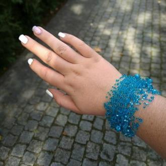 Воздушный браслет голубого цвета Вечернее украшение Подарок Украина