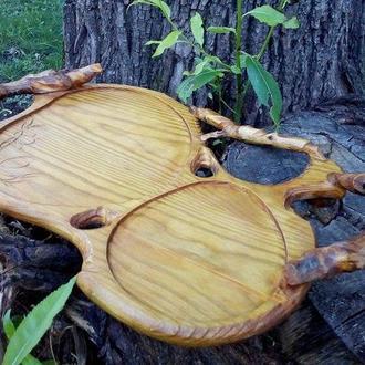 """Поднос из натурального дерева в Эко-стиле """"Loriens Leaf"""""""