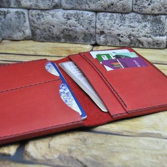 Красная кожаная обложка для документов D09-580