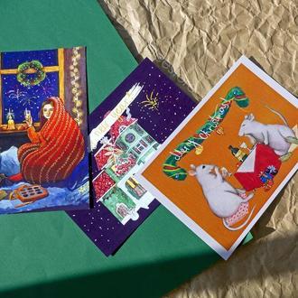 Набір святкових зимових листівок; новогодние открытки; рождественские открытки