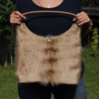 Женская сумка из шкуры коровы и кожи бежевого цвета с персонализацией, Повседневная сумка