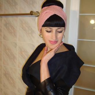 Вязаная повязка на голову чалма женская - хелен