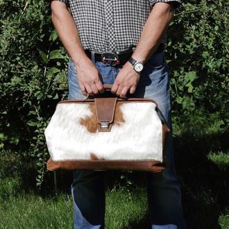 Портфель «доктора» из шкуры коровы с волосяным покровом и кожи