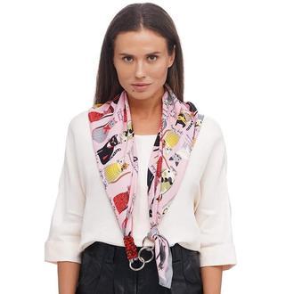 """Дизайнерский  платок """"""""Розовый кот бренда my scarf, шейный платок, подарок женщине"""