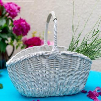 Белая овальная плетеная корзина Корзина для пикника  Пасхальная корзина Корзина плетеная с ручкой