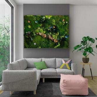 Эко картина из стабилизированных цветов, растений и Мха 91*61см Панно из стабилизированного мха Ягел