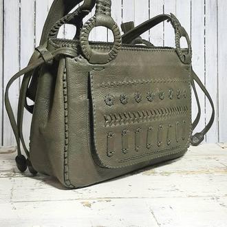 Женская кожаная сумка в этническом стиле «Вышивка»