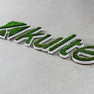 Панель-логотип из Мха Кочки Плоский. Логотипы и озеленение мхом