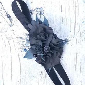 Стильный ободок повязка на голову с черными розами