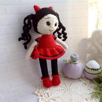 Кукла -чертёнок Дейзи крючком,22 см