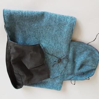 Шарф мужской голубой с серым Баф -снуд двухсторонний Шарф снуд с двумя масками