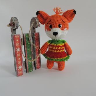 Лисичка Рыжулька вязаная мягкая игрушка