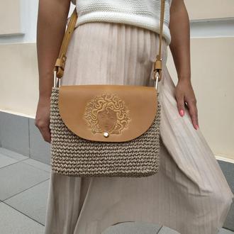 Стильная женская сумка через плечо Кроссбоди вязаная из джута
