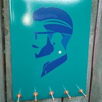 Дизайнерская настенная оригинальная ключница органайзер. Ключница на стену. Сталь+стеклоэмаль+латунь
