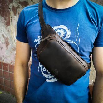 Кожаная сумка бананка, поясная сумка бананка, сумка через плечо, шоколадная бананка подарок парню